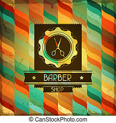 hairdressing, style., achtergrond, retro