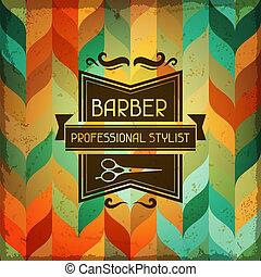 hairdressing, style., hintergrund, retro