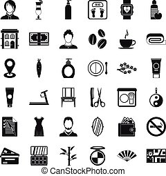 Hairdressing tool icons set, simple style - Hairdressing...