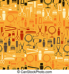 Hairdressing tools seamless pattern in retro style.