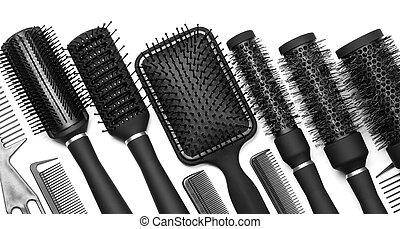 hairdressing, werkzeuge, weiß