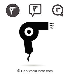 hairdryer icon set in black illustration