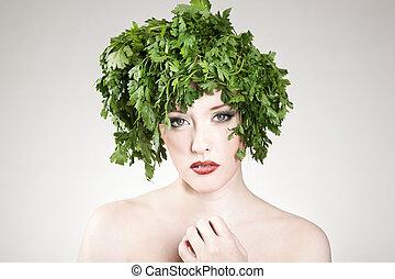 haired , γυναίκα , μαϊντανός , αισθησιακός , πορτραίτο