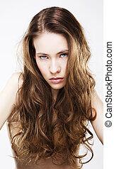 haired, donna, giovane, lungo, ritratto