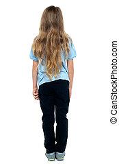 haired, joven, largo, espalda, niño de sexo femenino, vista
