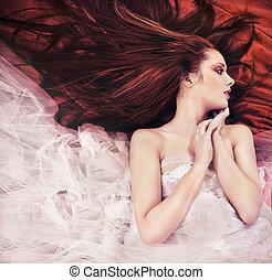haired, joven, sensual, mujer, jengibre, largo, postura