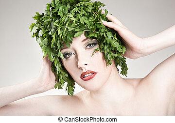 haired, kobieta, pietruszka, czuciowy, portret