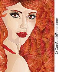 haired, menina, cacheados, vermelho