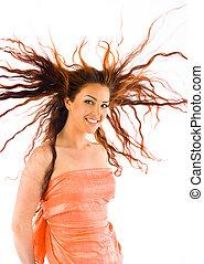 haired, modello, studio, rosso
