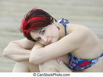 haired, niña, rojo