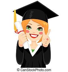 haired, niña, rojo, graduación