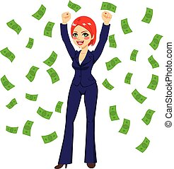 haired rojo, exitoso, mujer de negocios