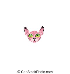 Hairless pink sphynx cats face with green eyes vector illustration