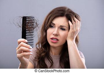 hairloss, souffrance, femme, inquiété