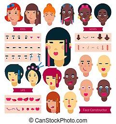 hairstyle , θέτω , φόντο , δημιουργία , γιαπωνέζοs , κορίτσι , χαρακτήρας , απομονωμένος , έφηβος , εφηβική ηλικία , στοιχεία , κατασκευαστής , εικόνα , δομή , του προσώπου , αγόρι , ζεσεεδ , νιότη , μικροβιοφορέας , avatar, αφρικανός , ή