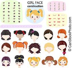 hairstyle , θέτω , φόντο , δημιουργία , κεφάλι , κοριτσίστικος , χείλια , κορίτσι , παιδιά , χαρακτήρας , απομονωμένος , άσπρο , μάτια , στοιχεία , εικόνα , δομή , του προσώπου , girlie , μικρόκοσμος , ζεσεεδ , μικροβιοφορέας , avatar, κατασκευαστής , ή