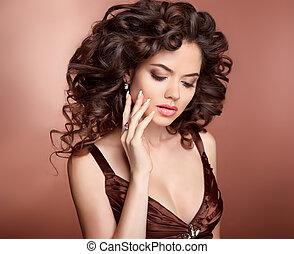 hairstyle., 美しい, 女の子, ∥で∥, 長い間, 巻き毛の髪