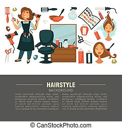 Hairstyle advertisement banner with stylist and work equipment