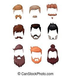 Hairstyle beard and hair face cut mask flat cartoon vector....