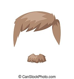 Hairstyle beard and hair face cut mask flat cartoon vector.