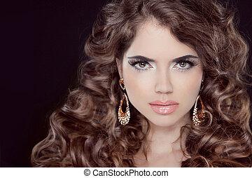 hairstyle., bonito, excitado, morena, woman., saudável, longo, marrom, hair., beleza, modelo, girl.