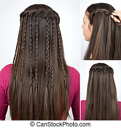 hairstyle braided cascade tutorial step by step. Hairstyle...