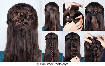 hairstyle braided rose tutorial step by step. Hairstyle for ...