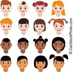 hairstyle , childs , τονίζομαι , αναπαριστώ , δεσποινάριο , του προσώπου , θέτω , γδέρνω , πορτραίτο , παιδιά , χαρακτήρας , απομονωμένος , διάφορος , άσπρο , εικόνα , αγόρι , φόντο , γελοιογραφία , μικρόκοσμος , ζεσεεδ , πρόσωπο , μικροβιοφορέας , ή