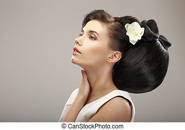 Hairstyle Contemporary Design. Sensual Woman with Creative...
