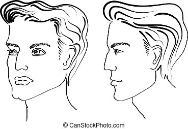 Hairstyle elements for salon with face. Vector portraits of man
