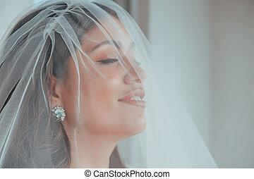 hairstyle., hôtel, poser, concept, magnifique, maquillage, lèvres, gonflé, mariée, eyes., matin, luxe, sea., terrasse, destination, regarder, bride., expressif, brunette, mariage