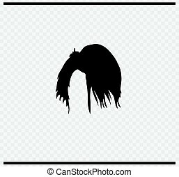 hairstyle icon black color on transparent