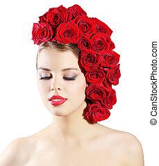 hairstyle, meisje, vrijstaand, rozen, achtergrond, verticaal, witte , het glimlachen, rood