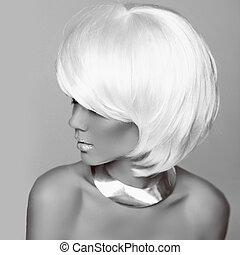 hairstyle., mode, blond, woman., weißes, kurz, hair., schöne , m�dchen, model., schwarz weiß, photo., fringe., jewelry., mode, style.