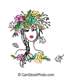 hairstyle, ontwerp, vrouwlijk, floral, verticaal, jouw