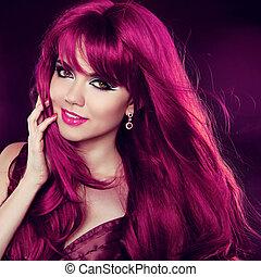 hairstyle., röd, hair., mode, flicka, stående, med, länge, lockig, hair., skönhet, stående, av, woman.