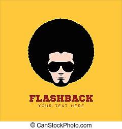 hairstyle., retro, 1970s, 70's., muy ensortijado, hombre
