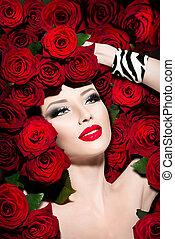 hairstyle, rozen, sexy, model, bloemen, meisje, rood