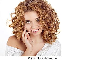 hairstyle., sano, riccio, hair., bellezza, ritratto, di, attraente, giovane, con, lungo, ondulato, capelli