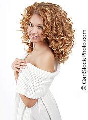 hairstyle., sano, riccio, hair., bello, giovane, con, lungo, ondulato, capelli