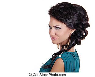 hairstyle., schoenheit, frau, mit, langer, schwarz, hair., hairstyle., schöne , modell, m�dchen, portrait., earrings., zubehörteil