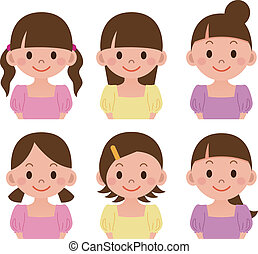 Hairstyle set of women