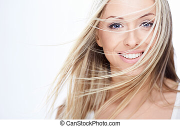 Hairstyle - Young beautiful girl on white background
