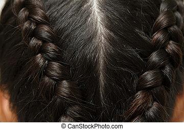 hairstyle., su, capelli lunghi, nero, chiudere, treccia