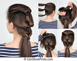 hairstyle twisted pony tail tutorial - simple hairstyle with...