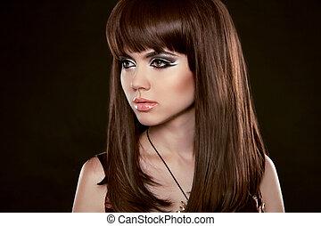 hairstyle., vacker kvinna, med, länge, hälsosam, brun, hair., isolerat, på, svart, bakgrund., skönhet, stilig, modell, stående