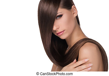 hairstyle., verticaal, van, nadenkend, jonge vrouwen, met, mooi, haar, kijken naar van fototoestel, terwijl, vrijstaand, op wit