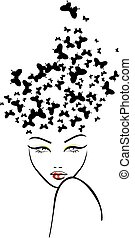 Hairstyle with butterflies
