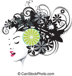 Hairstyle with lime slice