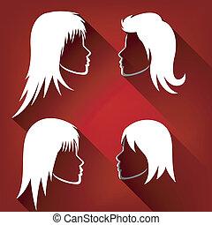 Hairstyle Woman Set Flat Design
